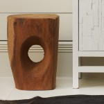 Carved wooden 'Devils Eye' stool