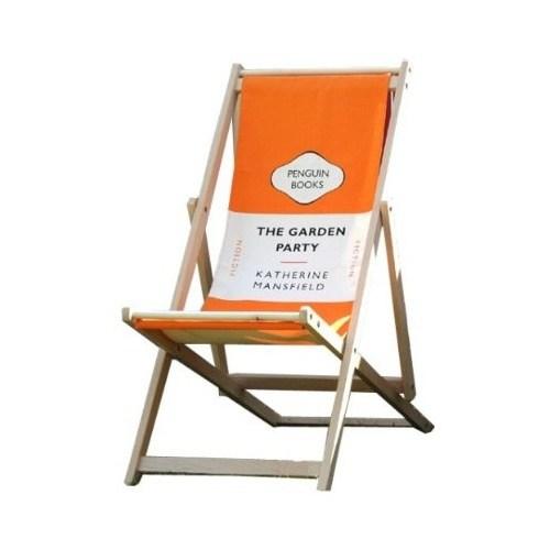 Classic Penguin literary book deck chair