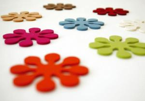 Funky felt flower drink coasters