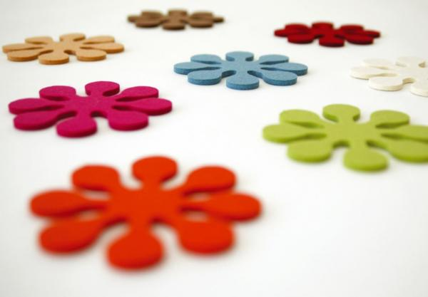 Contemporary felt flower coasters