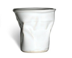 Ceramic crushed cup by designer Rob Brandt
