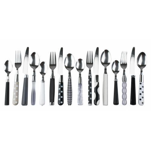 Black and white eclectic cutlery set by Present Time