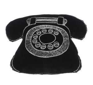 Old fashioned black telephone cushion
