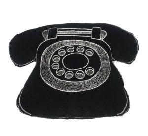Old fashioned black telephone cushion