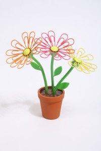 Flower pot paperclip magnetic desk tidy