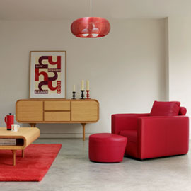 Contemporary red scarlet living room chair
