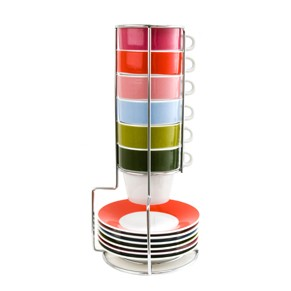 Espresso cup stacking tower set