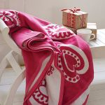 Red hearts fleece blanket