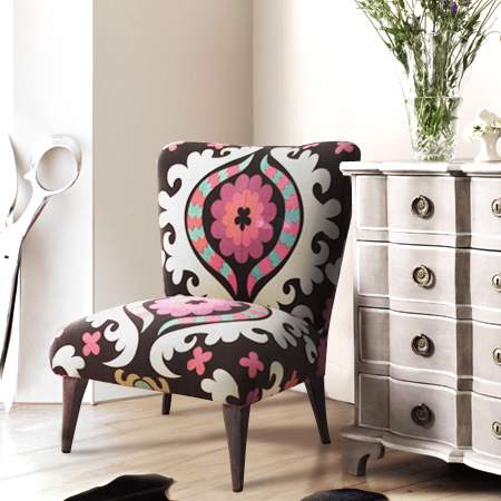 Suzani fabric upholstered chair from Graham and Green
