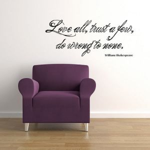 William Shakespeare Love All wall decal quote