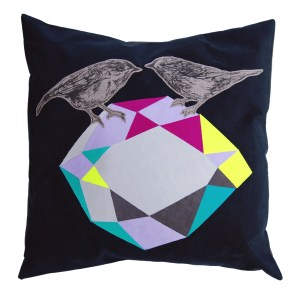 Contemporary bird cushion by Katie and the Wolf