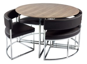 Compact orbit modern dining table set from dwell fresh for Limited space dining table