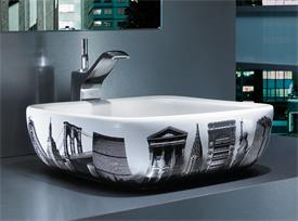 Designer modern cityscape New York sink basin