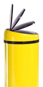 Modern technological kitchen bin in yellow