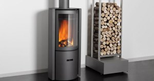 Modern designer wood burning stove