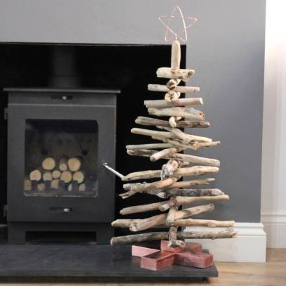 Wonderful handmade copper and driftwood Christmas tree