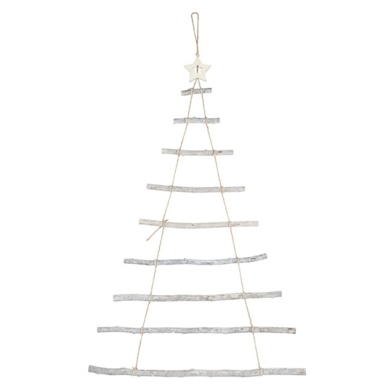 Minimal and alternative ladder style hanging wooden Christmas tree. Ready to decorate or keep as it is.