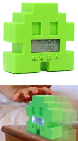 Retro 80s space invader alarm clock