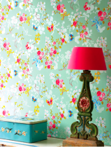 Vibrant colourful contemporary floral wallpaper