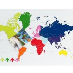 Colourful world map magnetic memo board
