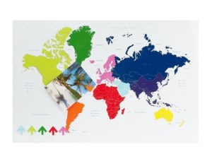 Plan your travels with this colourful world map wall art