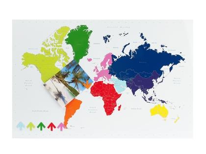 Colourful world map magnetic memo board
