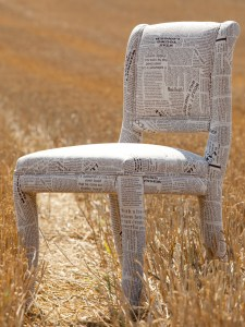 Unique chair made from newspaper
