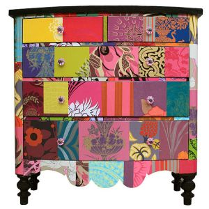 Patchwork wallpaper furniture