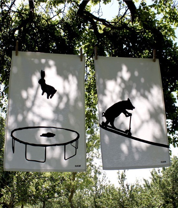 HAM bouncing rabbit and scooting pig tea towels