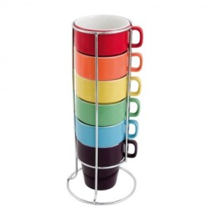 Rainbow stack of mugs