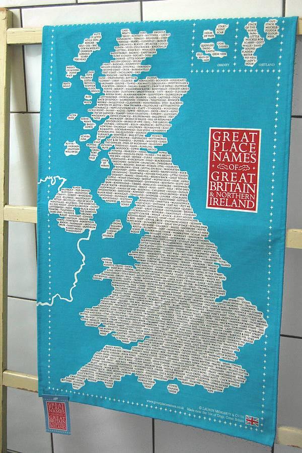 Great British place names tea towel