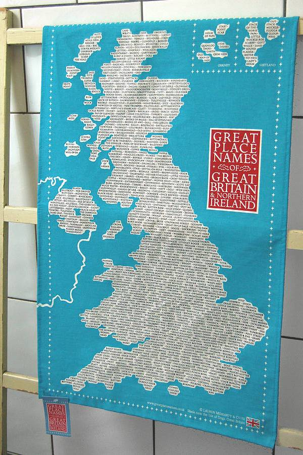 Great British place names tea towel