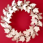 Contemporary alternative cardboard leaf design Christmas wreath