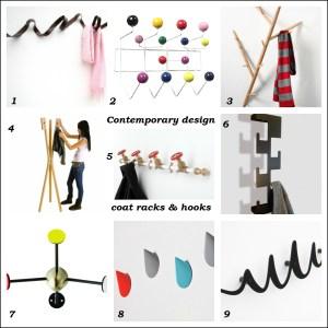 Contemporary designer coat racks and hooks
