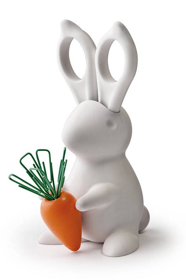Quirky desk accessory: Bunny scissors and paperclip holder