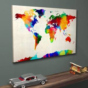 Colourful sponge paint world map contemporary wall art
