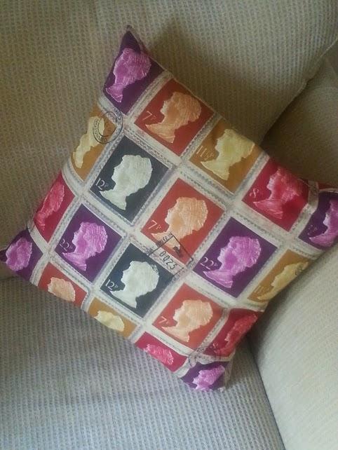 British postal stamp cushion