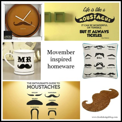 Novelty moustache cushion and mug