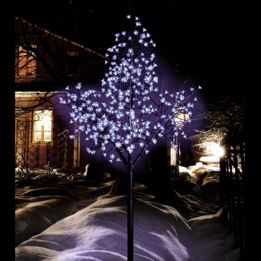 Lovely ice blue effect outdoor cherry blossom Christmas tree