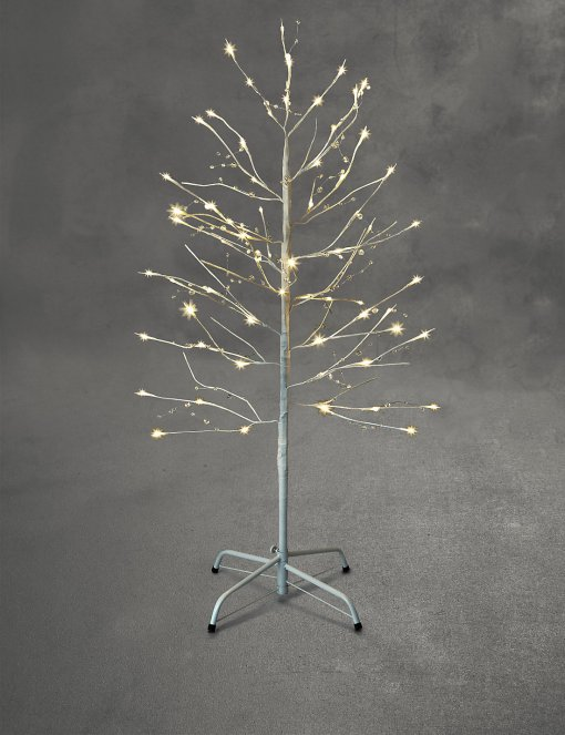 Add some festive cheer outside your home with this pre-lit white gem twig style Christmas tree