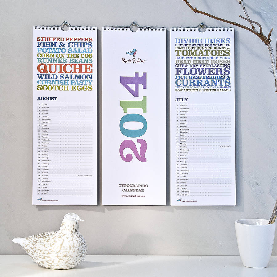 Calendar For Typography Nerds : Get organised calendars for home or work fresh