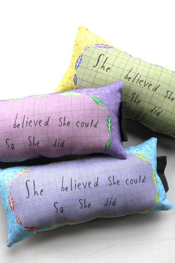 Inspirational 'believe in yourself' cushions by Nicola Rowlands