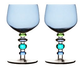 Spectra blue glass wine glasses