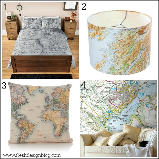 Wallpaper bedding and decor with a map theme