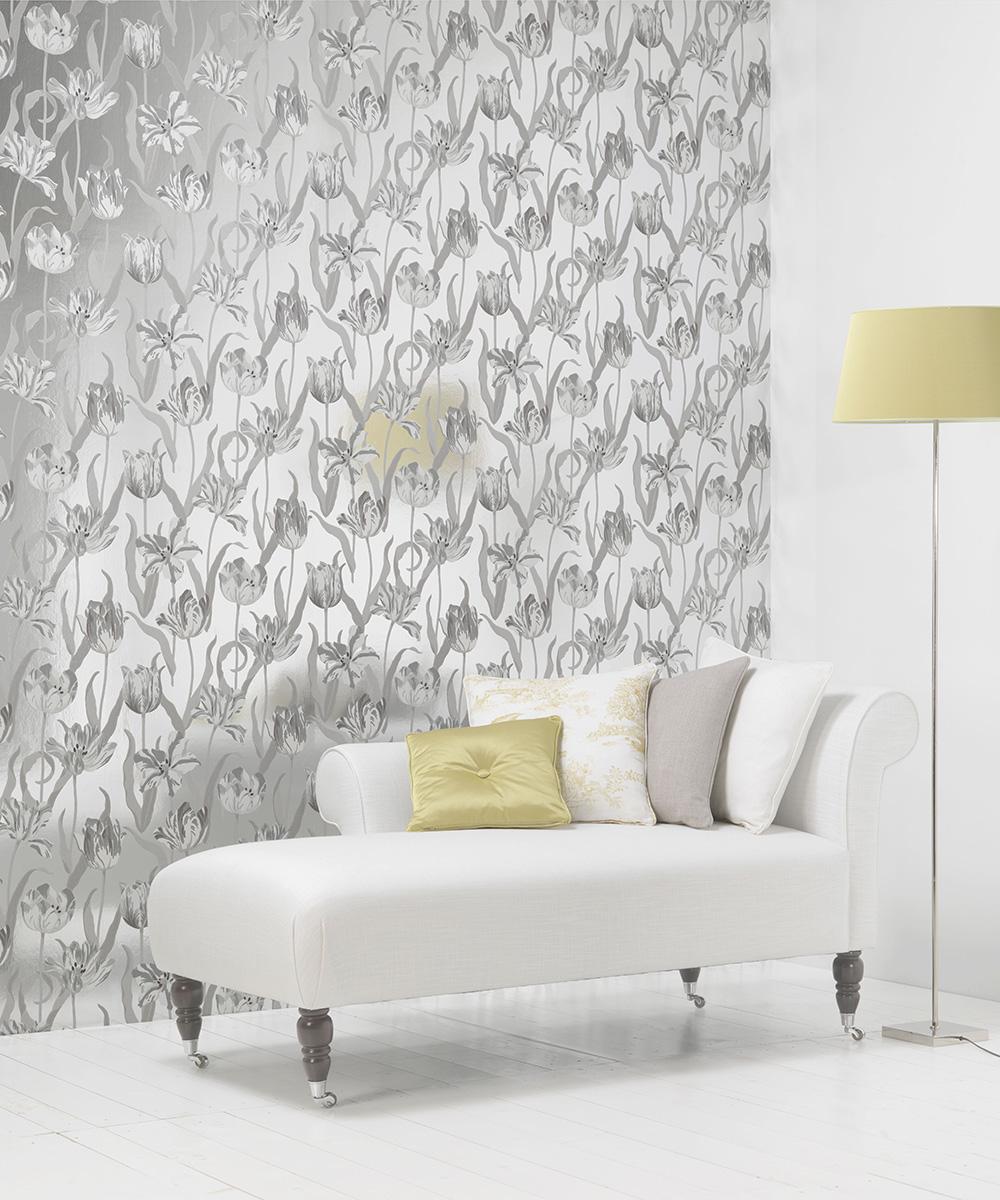 Silver Metallic Wallpaper Bedroom