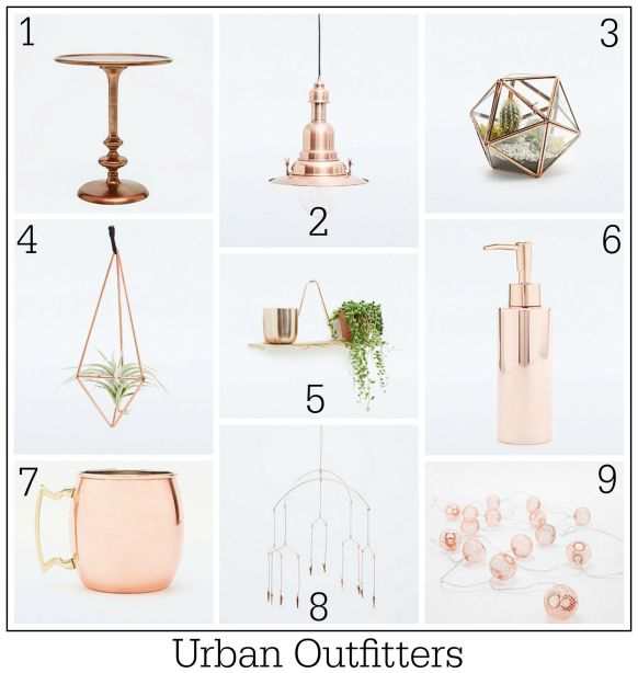 Copper lighting and home accessories