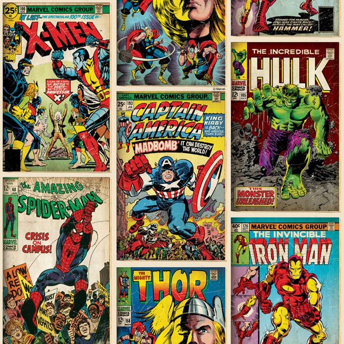 Epic Based on actual vintage ic book covers from the Marvel archive this wallpaper features old favourites such as Spider Man the Incredible Hulk