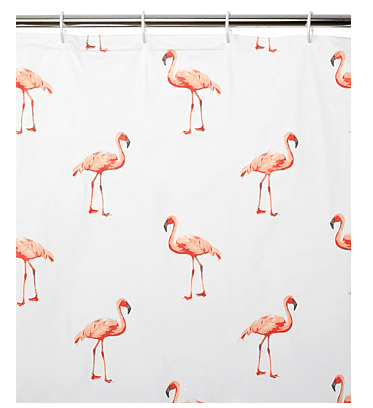 Luxury  Pink flamingo shower curtain George at Asda