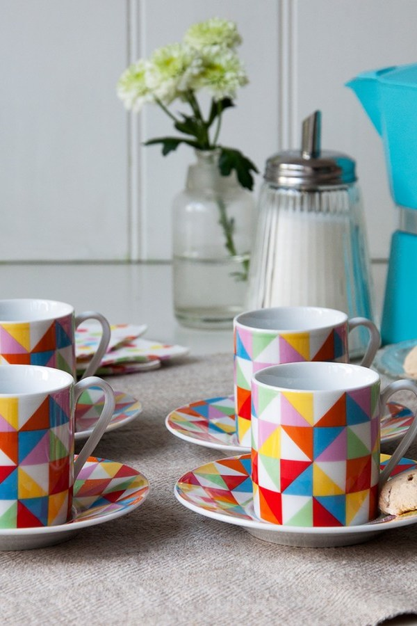 Fab geometric espresso coffee cup and saucer set