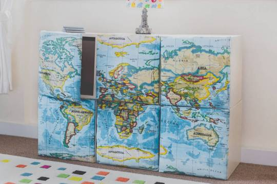 Map decor storage idea for your home